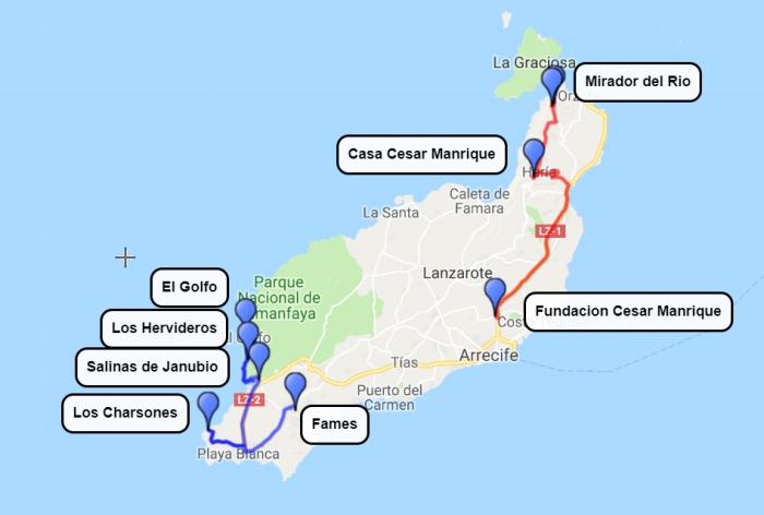 Lanzarote, 1. in 2. dan