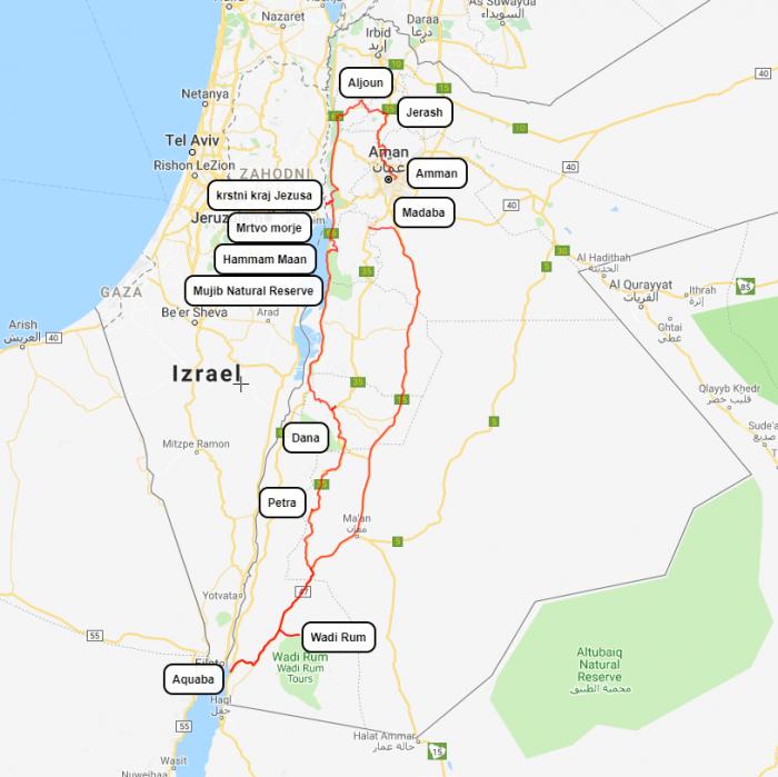 Jordanija, program potovanja